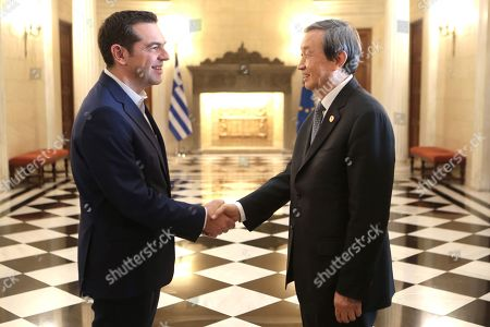 Greek Prime Minister Alexis Tsipras (L) welcomes China?s Vice Premier Ma Kai (R) during their meeting, at Maximos Mansion, in Athens, Greece, 08  December 2017. The focus of talks during Ma Kai's visit to Greece will be on new technology, tourism and agri-food products.