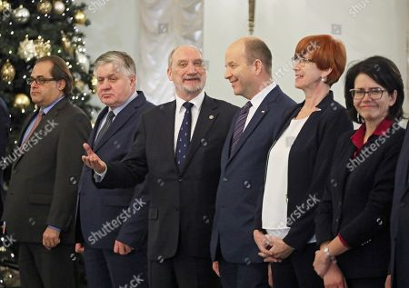 Members of the Polish Government (from left): Marek Grobarczyk, Krzysztof Jurgiel, Antoni Macierewicz, Konstanty Radziwill, Elzbieta Rafalska, Anna Strezynska in the Presidential Palace in Warsaw, Poland, 08 December 2017. President Andzrej Duda will accept the resignation of the Beata Szydlo government and will nominate to-date Deputy PM Mateusz Morawiecki as new Prime Minister.