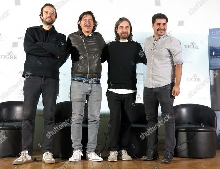 """Gabriel Cruz Rivas, Angel Mosqueda, Sergio Acosta, Rodrigo Guardiola. Members of the Mexican rock band Zoe, from left to right, bassist Angel Mosqueda, guitarist Sergio Acosta and drummer Rodrigo Guardiola pose for a photo with Mexican director Gabriel Cruz Rivas, during a press conference in Mexico City, to promote their documentary """"Panoramas"""" in which Guardiola and Cruz Rivas co-directed. """"Panoramas"""", which follow the group on their 2012-2015 tours of Europe and South America, will be presented Dec. 8 and 9 in Mexico"""