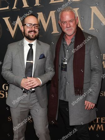 "Joe Trapanese, John Debney. Joe Trapanese, left, and John Debney, right, attend the world premiere of ""The Greatest Showman"" aboard the RMS Queen Mary 2, in New York"