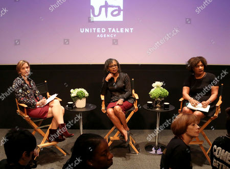 Emily Martin, Anita Hill, Fatima Goss Graves. Emily Martin, from left, Anita Hill and Fatima Goss Graves listen to the questions from the audience during a discussion about sexual harassment and how to create lasting change from the scandal roiling Hollywood at United Talent Agency, in Beverly Hills, Calif