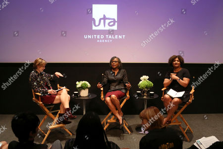 Emily Martin, Anita Hill, Fatima Goss Graves. Emily Martin, from left, Anita Hill and Fatima Goss Graves speak at the Anita Hill and Fatima Goss Graves Discussion on Harassment at United Talent Agency, in Beverly Hills, Calif