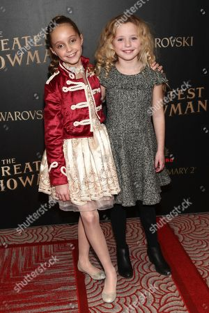 """Stock Image of Austyn Johnson, Cameron Seely. Austyn Johnson, left, and Cameron Seely, right, attend the world premiere of """"The Greatest Showman"""" aboard the RMS Queen Mary 2, in New York"""