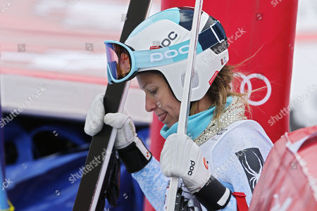 Julia Mancuso, of the United States, reacts in the finish area, during the women's Super-G race at the FIS Alpine Ski World Cup, in St. Moritz, Switzerland, 09 December 2017.