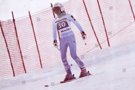Julia Mancuso, of the United States, goes in finish area after her elemining, during the women's Super-G race at the FIS Alpine Ski World Cup, in St. Moritz, Switzerland, Saturday, December 9, 2017.
