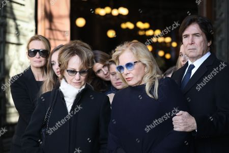 Former wife of David Hallyday, Estelle Lefebure (L), her daughter Emma Smet (2-L), former wives of late French singer Johnny Hallyday, French actress Nathalie Baye (3-L), French singer Sylvie Vartan (2-R) and her husband US actor and film producer Tony Scotti (R), leave the La Madeleine Church at the end of the funeral ceremony in Paris, France, 09 December 2017. Johnny Hallyday, France's biggest rock star, has died of cancer on 06 December. He was 74.