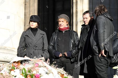 (L-R) French singer Nolwenn Leroy, French musician Jean-Louis Aubert and French TV host Bernard Montiel arrive at the La Madeleine Church prior to the funeral ceremony in tribute to late French singer Johnny Hallyday in Paris, France, 09 December 2017. Johnny Hallyday, France's biggest rock star, has died of cancer on 06 December. He was 74.