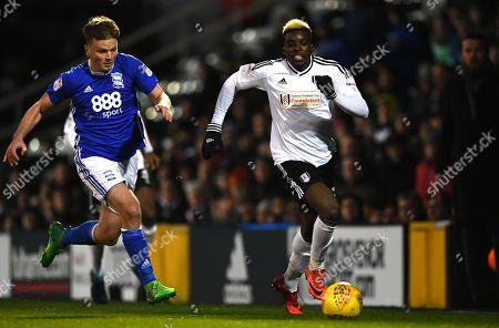 Stephen Gleeson of Birmingham City chases Sheyi Ojo of Fulham