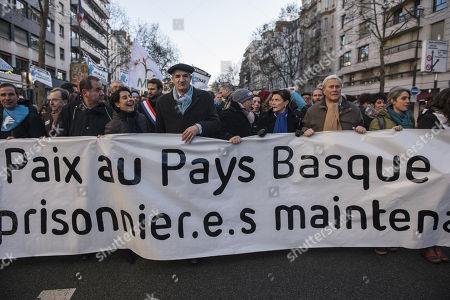 French Mayor of Lourdios-Ichere, Jean Lassalle (C), takes part of demonstration to support peace in Basque country and the imprisoned ETA member's rigths, in Paris, France, 09 December 2017.