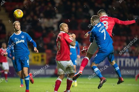Last minute header from Charlton Leon Best (8) during the EFL Sky Bet League 1 match between Charlton Athletic and Portsmouth at The Valley, London