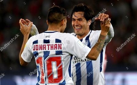 Jonathan Urretaviscaya and Jorge Hernandez of CF Pachuca celebrate the winning goal by Victor Guzman in the extra time of the FIFA Club World Cup match between CF Pachuca and Wydad Casablanca in Abu Dhabi, UAE, 09 December 2017.