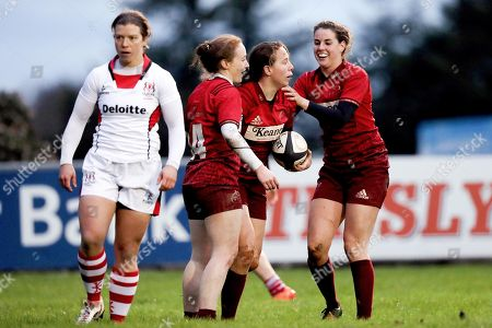 Munster vs Ulster. Munster's Niamh Kavanagh celebrates scoring a try with Laura Sheehan and Rachel Allen