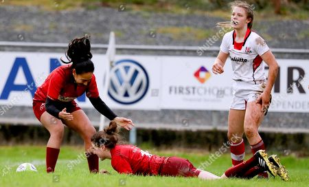 Munster vs Ulster. Munster's Rachel Allen celebrates scoring a try with Syphonia Pua