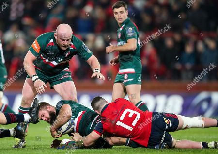 Munster vs Leicester Tigers. Leicester's Michael Fitzgerald is tackled by Sam Arnold of Munster