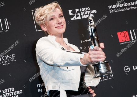 Hungarian actress Alexandra Borbely poses with the European actress 2017 award at the 30th European Film Awards, in Berlin, Germany, 09 December 2017.  The nominations and winners are selected by more than 2,500 members of the European Film Academy.
