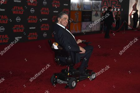 """Peter Mayhew arrives at the Los Angeles premiere of """"Star Wars: The Last Jedi"""" at the Shrine Auditorium on in Los Angeles"""