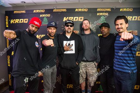 Rico Pabon, Tom Morello, B-Real, Tim Commerford, Chuck D, Brad Wilk. Rico Pabon, from left, Tom Morello, B-Real, Tim Commerford, Chuck D and Brad Wilk of Prophets of Rage pose at the 2017 KROQ Almost Acoustic Christmas at The Forum, in Inglewood, Calif