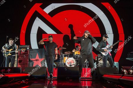 Stock Picture of Tim Commerford, Chuck D, B-Real, Tom Morello. Tim Commerford, from left, Chuck D, B-Real and Tom Morello of Prophets of Rage perform at the 2017 KROQ Almost Acoustic Christmas at The Forum, in Inglewood, Calif