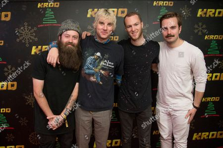 Nate Zuercher, Judah Akers, Brian Macdonald, Spencer Cross. Nate Zuercher, from left, Judah Akers, Brian Macdonald and Spencer Cross of Judah & The Lion pose at the 2017 KROQ Almost Acoustic Christmas at The Forum, in Inglewood, Calif
