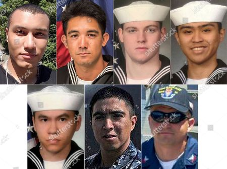 This combination of undated photos released, by the U.S. Navy shows the seven U.S. sailors who died in a collision between the USS Fitzgerald and a container ship off Japan on Saturday, June 17, 2017. From top left to right, Personnel Specialist 1st Class Xavier Alec Martin, 24, from Halethorpe, Md.; Yeoman 3rd Class Shingo Alexander Douglass, 25, from San Diego, Calif.; Gunner's Mate Seaman Dakota Kyle Rigsby, 19, from Palmyra, Va.; and Fire Controlman 2nd Class Carlos Victor Ganzon Sibayan, 23, from Chula Vista, Calif. From bottom left to right, Sonar Technician 3rd Class Ngoc T Truong Huynh, 25, from Oakville, Conn.; Gunner's Mate 2nd Class Noe Hernandez, 26, from Weslaco, Texas; and Fire Controlman 1st Class Gary Leo Rehm Jr., 37, from Elyria, Ohio
