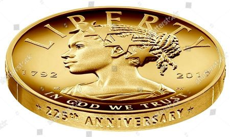 This undated handout image provided by the U.S. Mint shows the design for the 2017 American Liberty 225th Anniversary Gold Coin. Backers of a proposal exempting the sale of U.S. gold coins from Arizona state capital gains taxes brought in former congressman and presidential candidate Ron Paul, to tout their effort at the state Senate