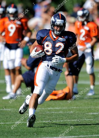 Denver Broncos tight end Dan Gronkowski during training camp at the Denver Broncos football training facility in Englewood, Colo., on