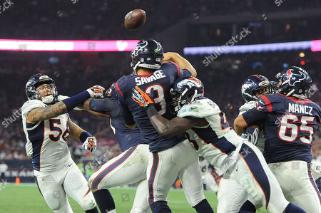 Shane Ray, Shaquil Barrett, Tom Savage. Houston Texans' Tom Savage (3) is pressed by Denver Broncos' Shaquil Barrett (48) and Shane Ray (56) as he throws a pass during the second half of an NFL preseason football game, in Houston