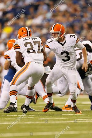 Brandon Weeden, Brandon Jackson. Cleveland Browns quarterback Brandon Weeden, right, hands off to running back Brandon Jackson during the second half of a preseason NFL football game against the Indianapolis Colts in Indianapolis