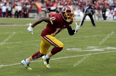 fae368d3d Washington Redskins wide receiver DeSean Jackson (11) runs from the line of  scrimmage wearing