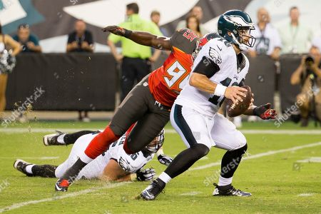 Chase Daniel, Andrew Gardner, Howard Jones. Philadelphia Eagles quarterback Chase Daniel (10) looks to get away from Tampa Bay Buccaneers defensive end Howard Jones (95) who gets past tackle/guard Andrew Gardner (66) during the first half of a the preseason NFL football game, in Philadelphia. The Eagles won 17-9