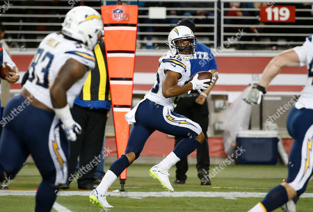 Stock Picture of San Diego Chargers cornerback Richard Crawford (35) returns an interception 29 yards for a touchdown against the San Francisco 49ers during the first half of an NFL preseason football game in Santa Clara, Calif