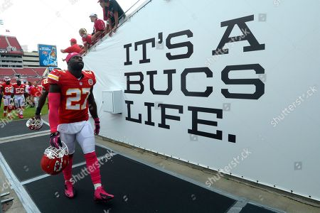Stock Photo of Kansas City Chiefs free safety Abram Elam (27) reacts while walking back to the locker room after a 38-10 loss to the Tampa Bay Buccaneers in an NFL football game in Tampa, Fla