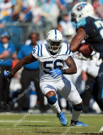 Indianapolis Colts linebacker Akeem Ayers (56) lines up against the Tennessee Titans during an NFL football game on in Nashville, Tenn. The Colts won the game 34-26