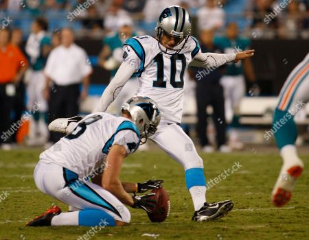 Stock Picture of Carolina Panthers' Olindo Mare (10) kicks a field goal against the Miami Dolphins during the second quarter of a preseason NFL football game in Charlotte, N.C