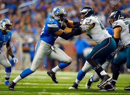 Devin Taylor, Andrew Gardner. Detroit Lions defensive end Devin Taylor (98) is blocked by Philadelphia Eagles guard Andrew Gardner (66) during an NFL football game, in Detroit. The Lions won the game 45-14