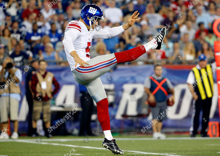 New York Giants punter Steve Weatherford in the first half of an NFL football game against the New England Patriots, in Foxborough, Mass