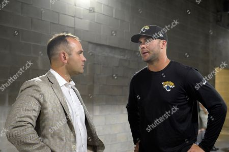 Blake Bortles, David Caldwell. Jacksonville Jaguars quarterback Blake Bortles, right, talks with general manager David Caldwell before a post-game news conference after an NFL football game against the Tampa Bay Buccaneers in Tampa, Fla., . The Buccaneers won 38-31
