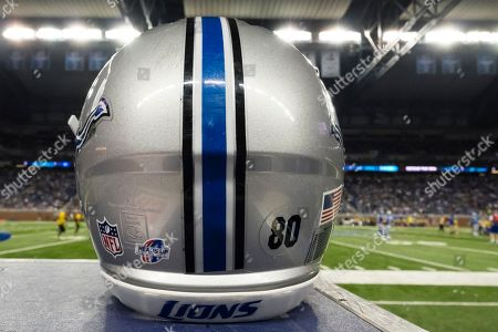 Helmets of Detroit Lions tight end Joseph Fauria (80) on the sideline against the Jacksonville Jaguars during a preseason NFL football game at Ford Field in Detroit