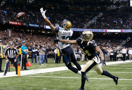 Rashad Greene, Kyle Wilson. Jacksonville Jaguars wide receiver Rashad Greene (13) reaches in vain for a two-point conversion attempt as New Orleans Saints defensive back Kyle Wilson (24) covers in the first half of an NFL football game in New Orleans