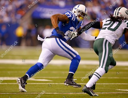 Winston Guy, Dee Milline. Indianapolis Colts free safety Winston Guy (27) defends New York Jets cornerback Dee Milliner (27) during a punt in an NFL football game in Indianapolis