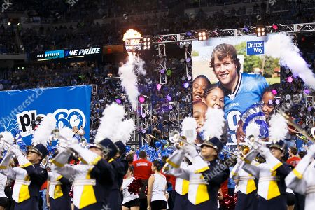 Stock Photo of Musician Tony Lucca performs during the half-time period of an NFL football game between the Detroit Lions and the Green Bay Packers at Ford Field in Detroit