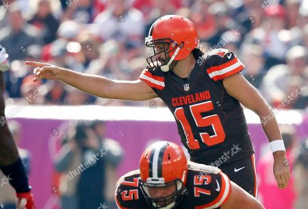 Stock Picture of Cleveland Browns' Charlie Whitehurst against the New England Patriots during the first half of an NFL football game, in Cleveland