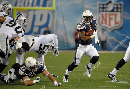 Ryan Matthews. San Diego Chargers running back Ryan Mathews (24) finds room to run against the Oakland Raiders in an NFL football game, in San Diego