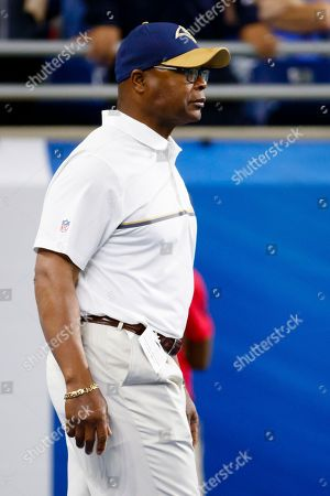 Los Angeles Rams defensive advisor Mike Singletary is shown before an NFL football game against the Detroit Lions, in Detroit