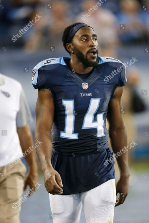 Tennessee Titans wide receiver Hakeem Nicks walks on the sideline in the second half of a preseason NFL football game against the St. Louis Rams, in Nashville, Tenn