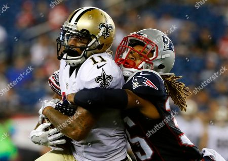 Reggie Bell, Cre'von LeBlanc. New Orleans Saints wide receiver Reggie Bell is tackled by New England Patriots cornerback Cre'von LeBlanc during the second half of a preseason NFL football game, in Foxborough, Mass