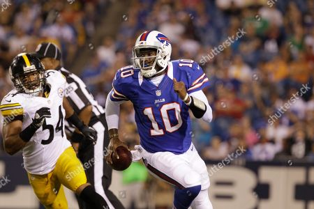Buffalo Bills' Vince Young is pressured by Pittsburgh Steelers' Chris Carter (54) during the second half of a preseason NFL football game in Orchard Park, N.Y