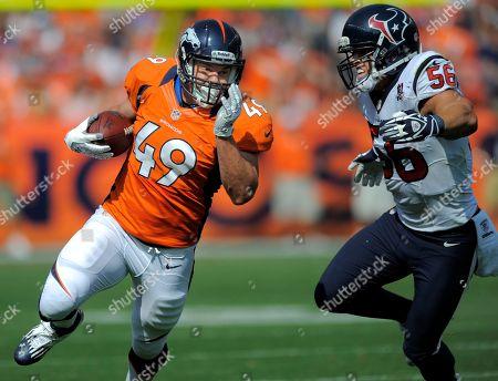 Chris Gronkowski, Brian Cushing. Denver Broncos running back Chris Gronkowski runs against Houston Texans inside linebacker Brian Cushing (56)during an NFL football game, in Denver