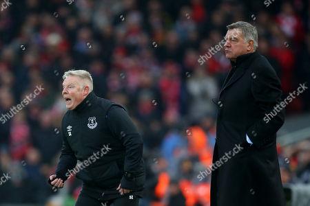 Everton assistant manager Sammy Lee and manager Sam Allardyce