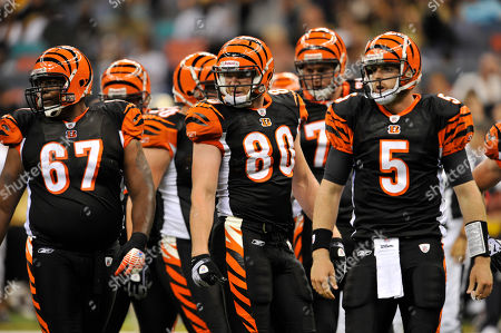 Augustus Parrish, Chase Coffman, Jordan Palmer. Cincinnati Bengals tight end Chase Coffman (80), Cincinnati Bengals quarterback Jordan Palmer (5) and Cincinnati Bengals offensive tackle Augustus Parrish (67) wait for the next play against the Cincinnati Bengals in an NFL preseason football game in New Orleans